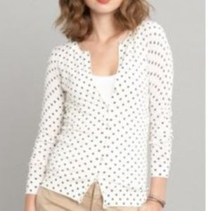 BANANA REPUBLIC WHITE POLKA DOT CARDIGAN